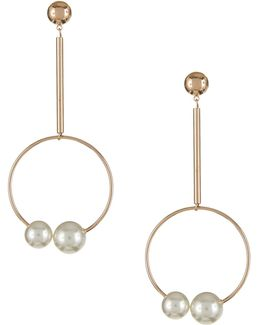Faux Pearl And Hoop Drop Earrings