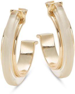 Transparent And Goldtone Hoop Earrings