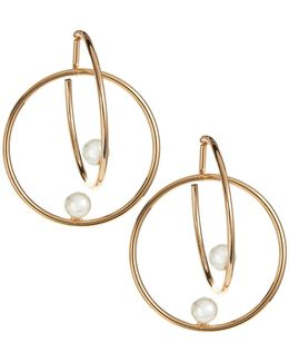 Double Hoop And Faux Pearl Earrings