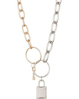 Multitone Locket And Chain Necklace