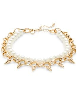 Spike And Faux Pearl Collar Necklace