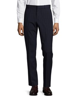 Slim-fit Tonal Check Dress Pants