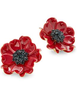 Poppy Red Stud Earrings