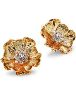 Goldtone Poppy Stud Earrings