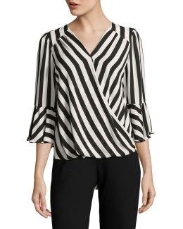 Stripe Front Wrap Blouse