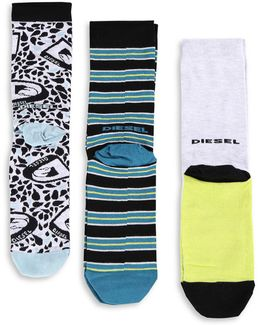 Three-pack Skm-ray Print And Stripes Socks