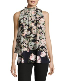 Floral-printed Sleeveless Blouse