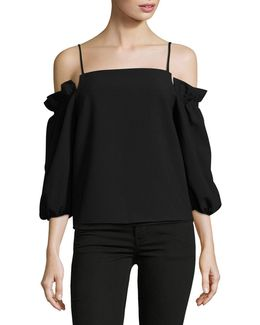Cold-shoulder Balloon Sleeve Top