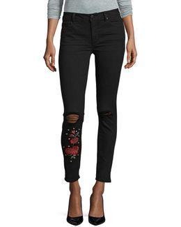 Floral Embellished Skinny Jeans
