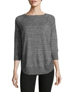 Petite Braided Round-hem Sweater