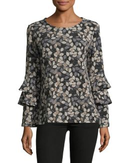 Tiered Bell-sleeve Printed Top