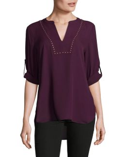 Studded V-neck Chiffon Tunic