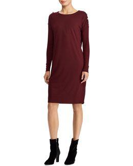 Button-shoulder Jersey Dress