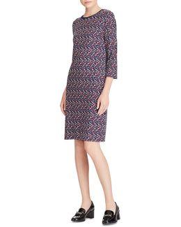 Geo-print Jersey Sheath Dress