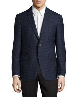 Micro Windowpane Wool Suit Jacket