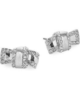 Silvertone Knot Stud Earrings