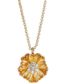 Goldtone Poppy Pendant Necklace