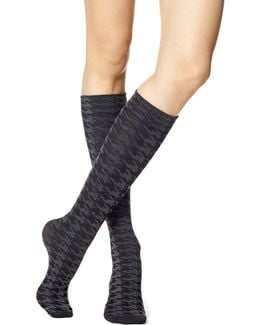 Womens Houndstooth Knee-high Socks