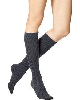 Womens Zig Zag Knee-high Socks
