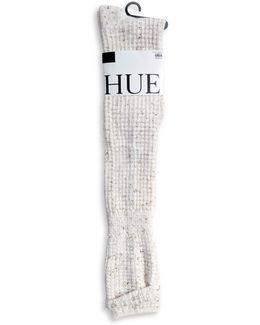 Womens Cuffed Waffle Knee Socks