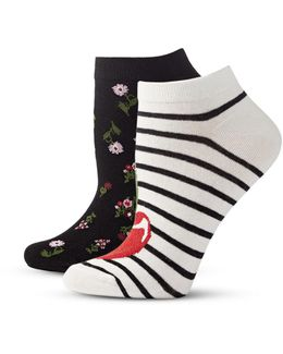 Womens Two-pack Print Ankle Socks