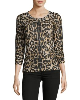 Petite Leopard Sheen Shirt