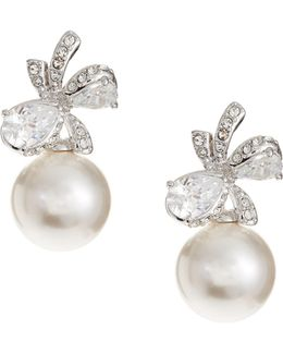 10mm White Pearl Marion Bow Earrings