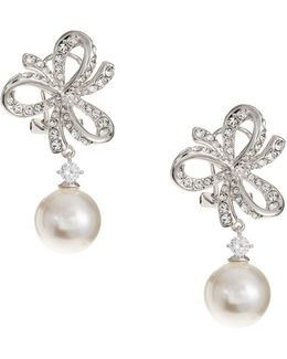 10mm White Pearl Marion Bow Dangling Earrings