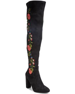Over-the-knee Floral Faux Suede Boots