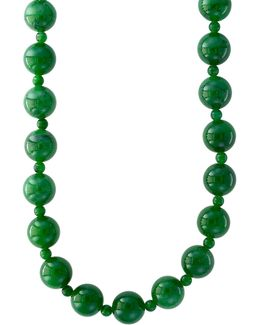 Green Jade And 14k White Gold Necklace