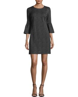 Plaid Bell-sleeve Sheath Dress