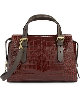 Loralie Croc-embossed Italian Leather Satchel