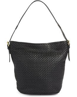 Loralie Weave Italian Leather Top Handle Bucket Bag
