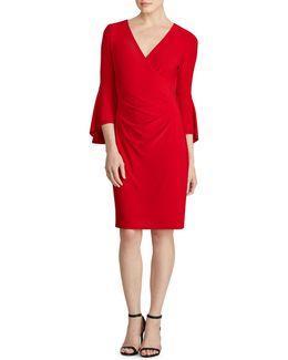 Bell Sleeve Jersey Sheath Dress