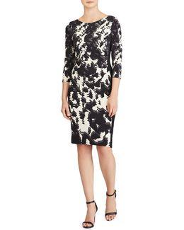 Abstract Print Jersey Sheath Dress