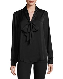 Self Bow-tie Blouse