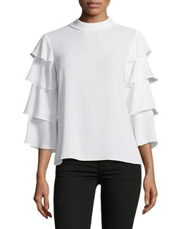 Elena Tiered-sleeve Blouse