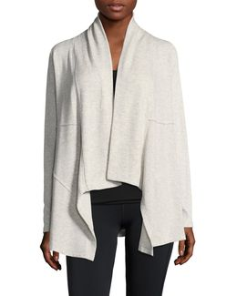 Ribbed Sleeve Waterfall Cardigan