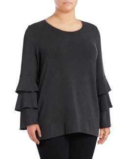 Plus Tiered Bell Sleeve Top