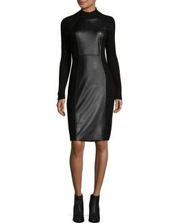 Faux Leather Mock-neck Dress