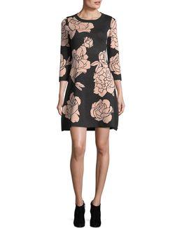 Large Floral Print Sweater Dress