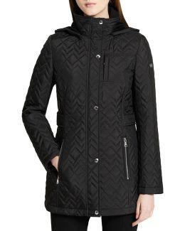 Chevron Hooded Coat