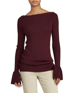 Ruffled Stretch Sweater