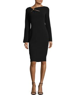Buckle Bell-sleeve Sheath Dress