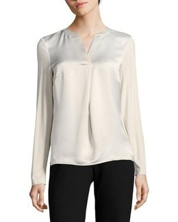 Long-sleeve V-neck Woven Top