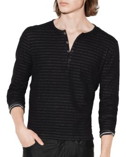 Double-faced Striped Cotton Henley