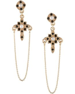 Keys To My Heart Cross Drop Earrings