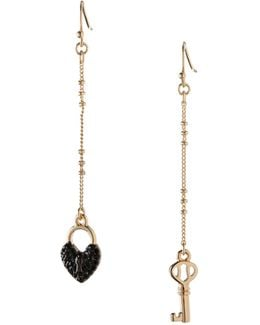 Keys To My Heart Mismatched Linear Drop Earrings