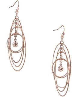 Orbital Rose Goldtone Multi-circle Drop Earrings