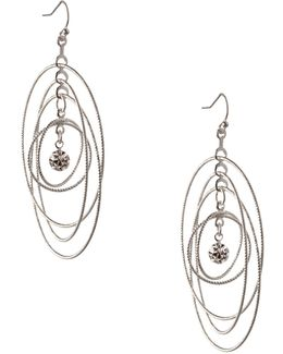 Orbital Silvertone Multi-circle Drop Earrings